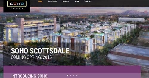 Screen shot of new website created for Soho Scottsdale