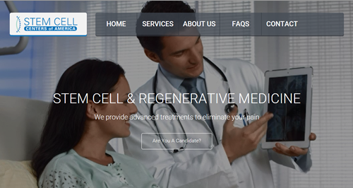 Screen Shot of Stem Cell Centers of America Website