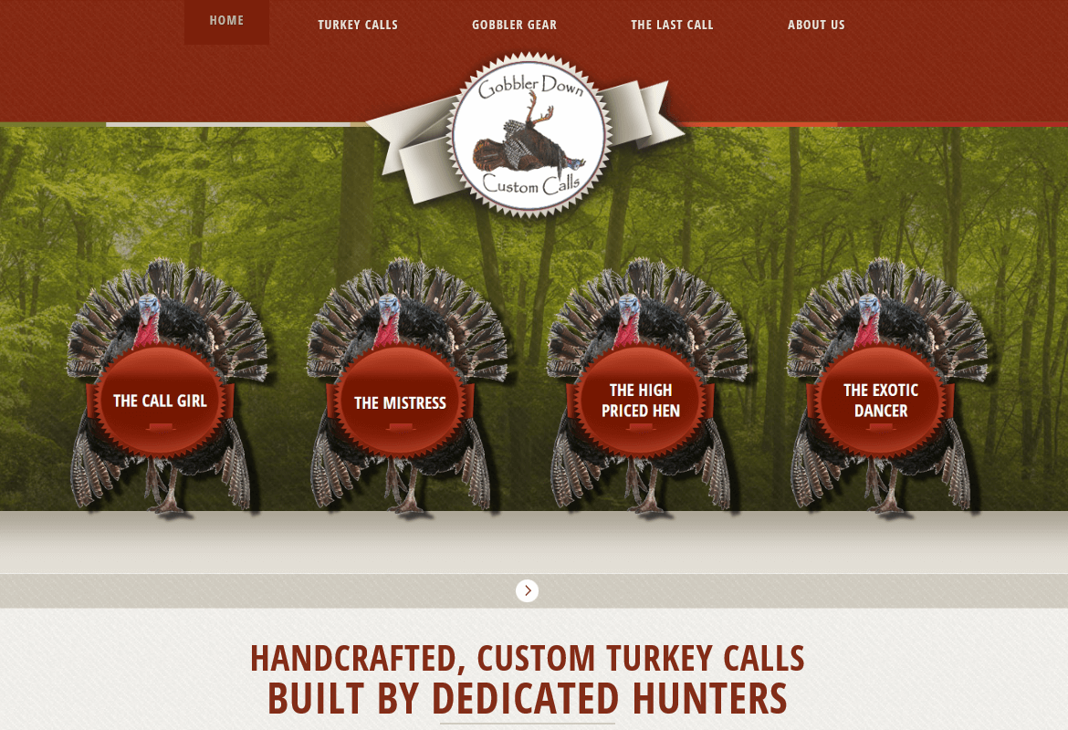 Home page screenshot of e-commerce site for Gobbler Down Custom Calls