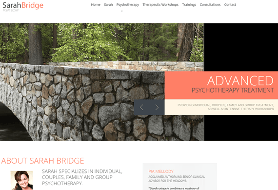 Screenshot of New Website for Sarah Bridge Therapy