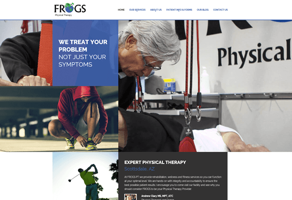 Screenshot of new home page design for FROGS Physical Therapy