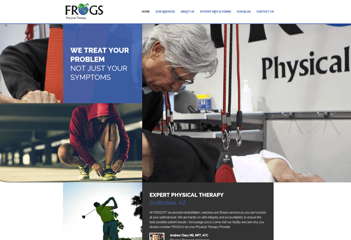 Custom Web Design for Scottsdale Based FROGS Physical Therapy