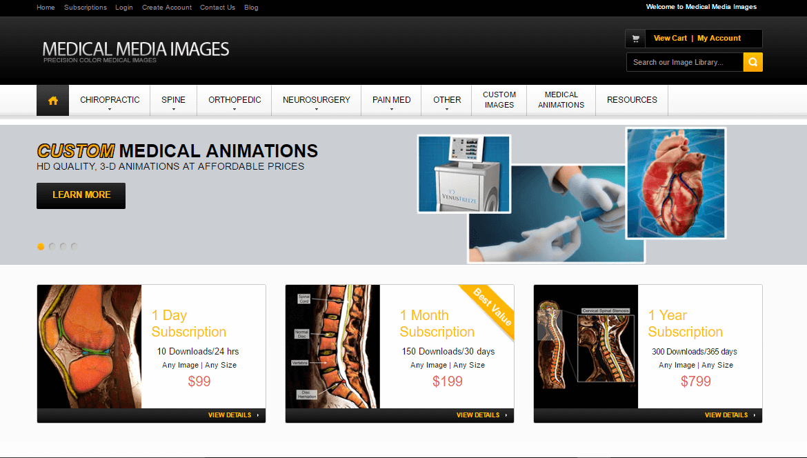 Screenshot of e-commerce website created for Medical Media Images