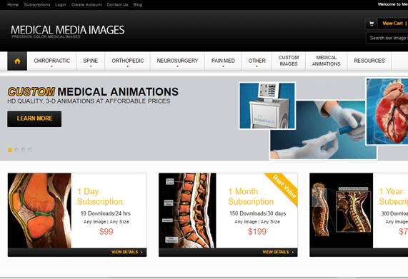 Screenshot of Medical Media Images e-Commerce Home Page